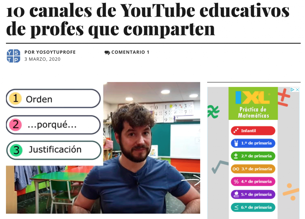 "Captura de pantalla de la noticia ""10 canales de YouTube educativos de profes que comparten"". Titular."
