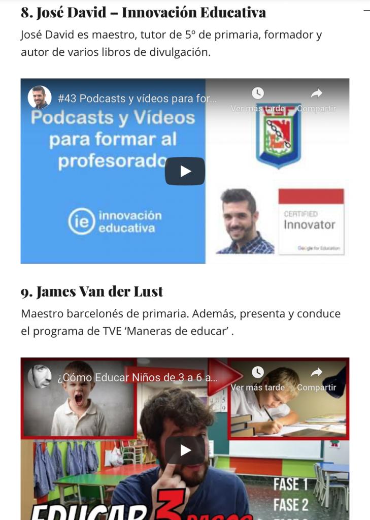 """Captura de pantalla de la noticia """"10 canales de YouTube educativos de profes que comparten"""". Detalle en el que aparece mi canal """"José David - Innovación Educativa"""""""
